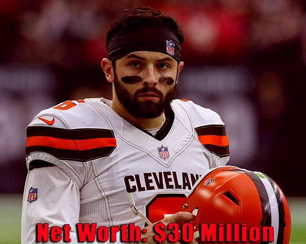 Image of American football player, Baker Mayfield net worth is $30 million