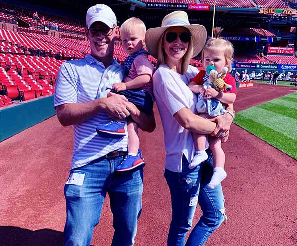 Image of Caption: Michelle Beisner-Buck with her husband Joe Buck and with their kids