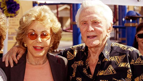 Image of Caption: Anne Buydens with her husband Kirk Douglas