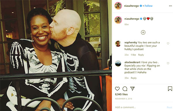 Image of Caption: Nia Renee Hill with her husband Bill Burr