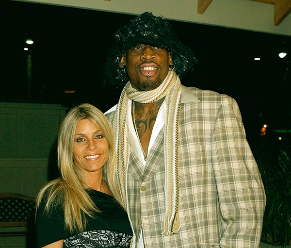 Image of Dennis Rodman with his ex-wife Michelle Moyer