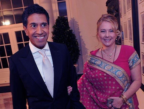 Image of Rebecca Olson with her husband Dr. Sanjay Gupta
