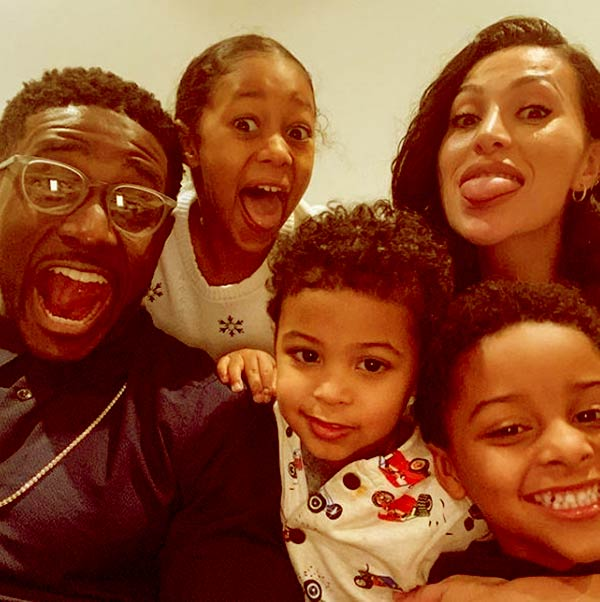 Image of Lilit Avagyan with her husband Reggie Bush along with their kids